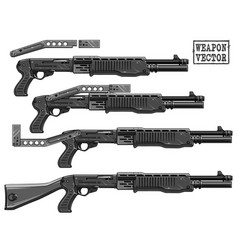 graphic silhouette shotgun rifle with ammo clip vector image