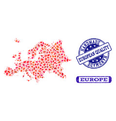 Handmade composition of map of europe and distress vector