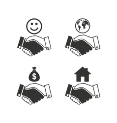 Handshake icons World Smile happy face vector image