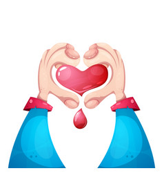 healt medical love hand and heart vector image