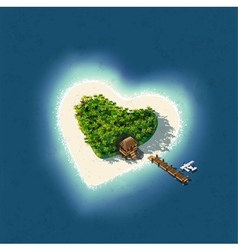 Heart Shaped Tropical Island for Romantic Vacation vector