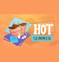 hot summer vacation sea travel retro banner vector image