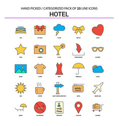 Hotel flat line icon set - business concept icons vector