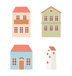 houses cottage facade exterior architecture icons vector image