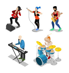 Isometric rock musicians with singer guitarist vector