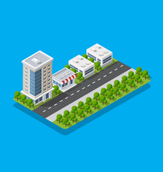 Isometric view city collection houses vector