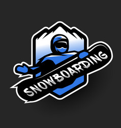 jumping snowboarder sport logo vector image
