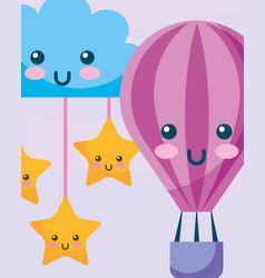 Kawaii hot air balloon cloud and stars hanging vector