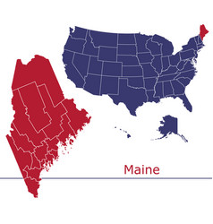 maine map counties with usa map vector image