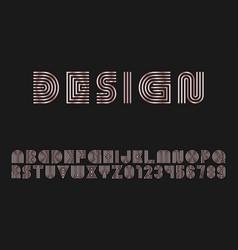 mettalic stylish striped font english vector image