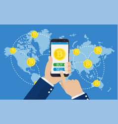 mobile bitcoin business vector image