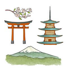 mountain fuji in japan vintage color vector image