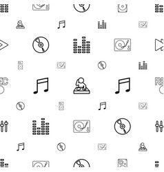 music icons pattern seamless white background vector image