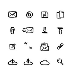 naive style icon set mail services doodle ink vector image