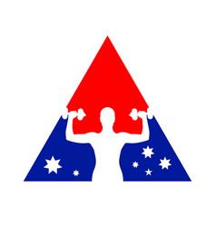 national flag fitness gym symbol logo design vector image