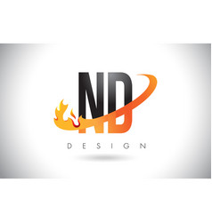 Nd n d letter logo with fire flames design and vector