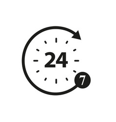 non stop of 24 and 7 icons vector image