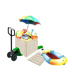 Pallet Truck Loading Beach Items in Shipping Box vector