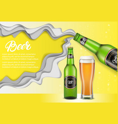 Paper cut craft beer poster template vector