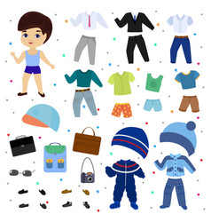 paper doll boy dress up clothing with vector image