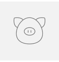 Pig head line icon vector image