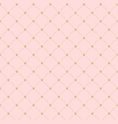 pink simple seamless pattern with crowns for vector image