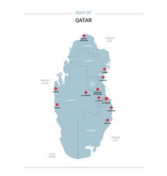 Qatar map with red pin vector