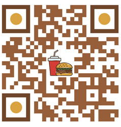 Qr code fast food restaurant vector