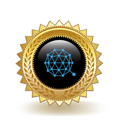 Qtum cryptocurrency coin gold badge vector