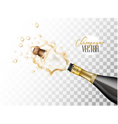 realistic champagne explosion closeup vector image
