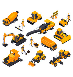 Road construction isometric icon set vector