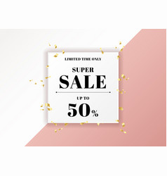 sale banner pink background and gold ribbon vector image
