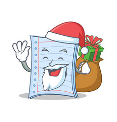 Santa with gift notebook character cartoon design vector