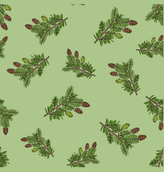 seamless pattern with hand drawn canadian hemlock vector image