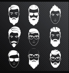 set bearded hipster men faces on the vector image