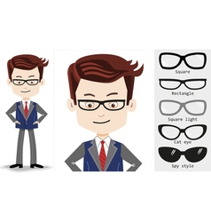 Set cartoon businessman in trendy rectangle shaped vector