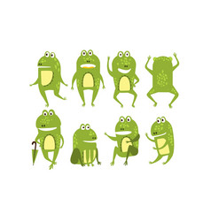 set green frogs in different poses and vector image