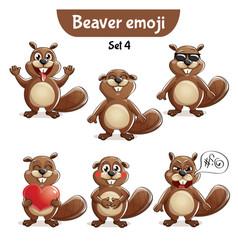 Set of cute beaver characters set 4 vector