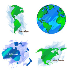 Set of world maps vector