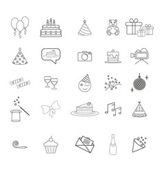 Set ot birthday party hapy day icons vector