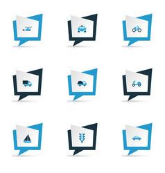 Shipment icons colored set with bogie sailing vector