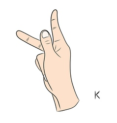 Sign language and the alphabetThe Letter k vector
