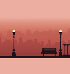 Silhouette of lamp and chair on street landscape vector