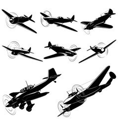 silhouettes of old fighters vector image