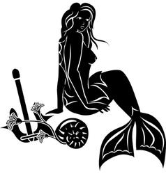 Sitting mermaid with long hair vector image