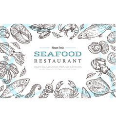 Sketch seafood banner drawing fish crab lobster vector