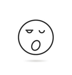 sleepy thin line emoji icon with shadow vector image