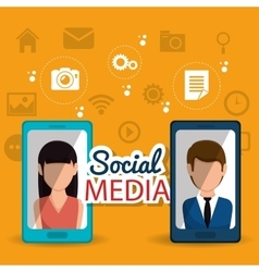 social media communication persons smartphone vector image