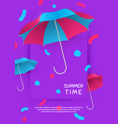 Summer time poster template with umbrella vector