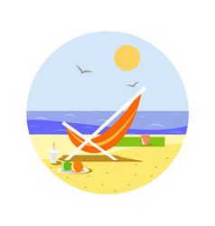 sunny beach with reclining chair vector image